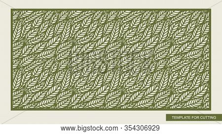 Decorative Panel With Leaf Patterns. Seamless Stencil With Green Floral Ornament.  Rectangular Backg
