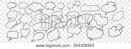 Doodle Speech And Dream Bubbles Set. Collection Of Scattered Pencil Hand Drawn Speech Dream Bubbles.