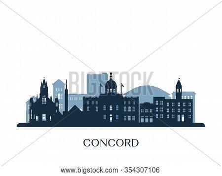 Concord Skyline, Monochrome Silhouette. Design Vector Illustration.