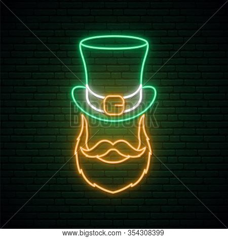 Irishman Neon Sign. Irishman With A Ginger Beard In A Hat. Man Portrait Vector Illustration In Neon