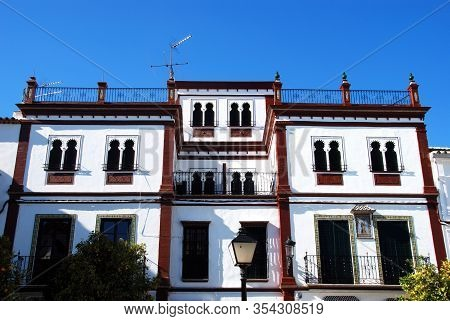 Building With Moorish Styled Windows In The Plaza Del Carmen, Estepa, Seville Province, Andalusia, S