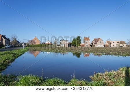 Sint Gillis Waas Belgium, 03 March 2020. Due To The Heavy Rain Flooded Fields And Are Full Of Water,