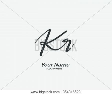 K R Kr Initial Logo Signature Vector. Handwriting Concept Logo.