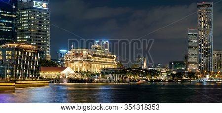 Singapore, Singapore - FEBRUARY 14, 2020: View at Singapore City Skyline at night