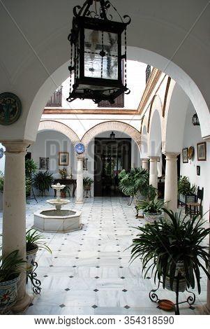 Ecija, Spain - November 13, 2008 - Elaborate Inner Courtyard Of An Inner City House, Ecija, Spain -