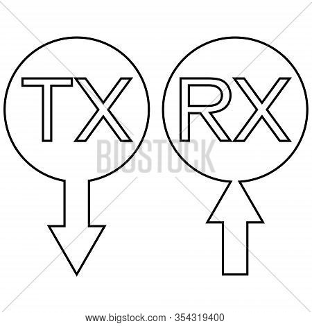 Sign Icon Tx Rx Transmission Receiving Data Information, Vector Simple Symbol Tx Rx An Arrow Receivi