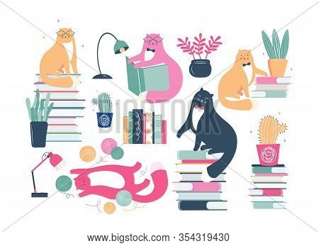 Big Set Of Funny Cats Are Literary Fans. Cute Animals Lovers Of Literature. Cartoon Cats Read And Si