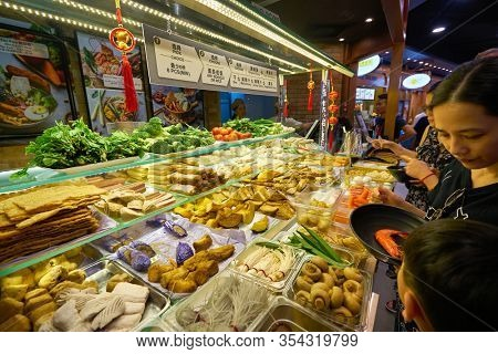SINGAPORE - JANUARY 20, 2020: food on display seen at a food court in the Shoppes at Marina Bay Sands