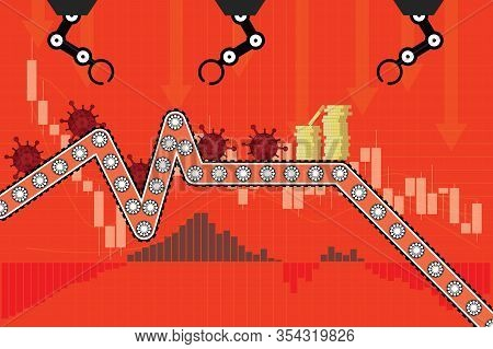 Stock Markets And Productivity Plunge From Covid-19 Virus Fear, World Investment Price Fall Down Or