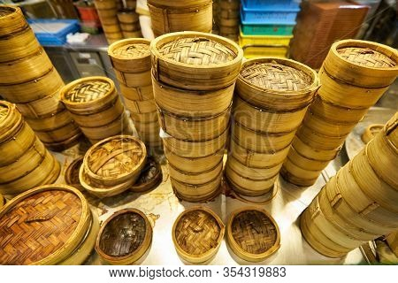 SINGAPORE - JANUARY 20, 2020: bamboo steamers seen at a food court in the Shoppes at Marina Bay Sands
