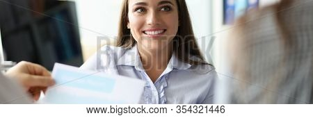 Portrait Of Attractive Businesswoman Smiling And Looking At Biz Partner With Happiness. People Worki