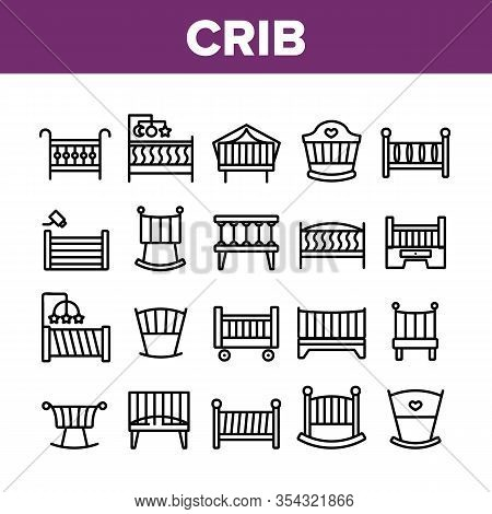 Crib Baby Infant Bed Collection Icons Set Vector. Wooden Crib With Hanging Toys, Heart Shape Mark, C