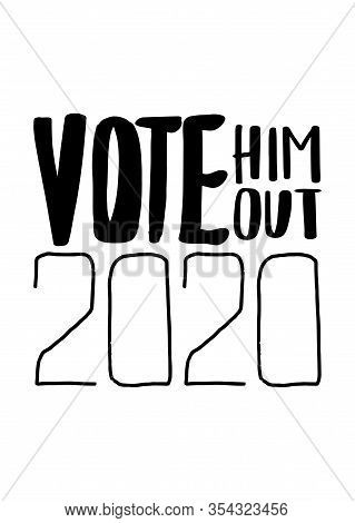 Check Mark Vote 2020.us American Presidential Election 2020.vector Outline Lettering Isolated.vote W