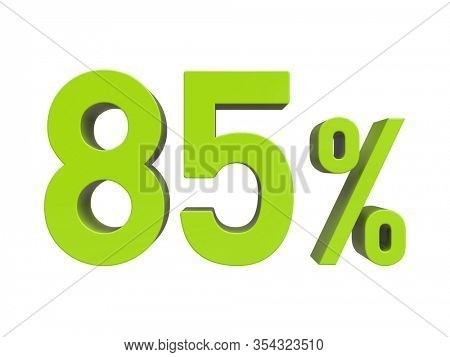 3d Render: ISOLATED 85% Percent Discount 3d Sign on White Background, Special Offer 85% Discount Tag, Sale Up to 85 Percent Off, Eighty-five Percent Letters Sale Symbol, Special Offer Label