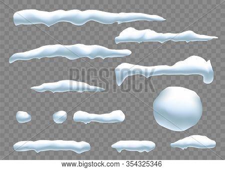 Snow Caps, Snowballs And Snowdrifts Set. Snow Cap Vector Collection. Winter Decoration Element. Snow