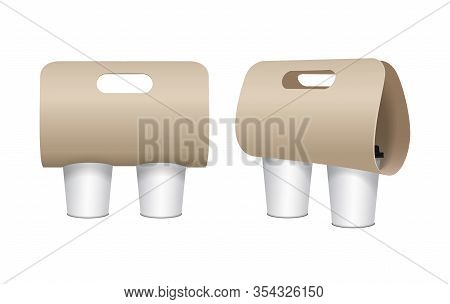 Coffee Cup Carton Holder Mock Up Set. Vector Paper Pack Holder Mockup. Front And Side View. Coffee C