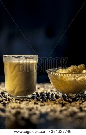 Indian Style Stamina And Strength Enrichment Drink Consisting Of Some Raw Eggs, Milk And Clarified B
