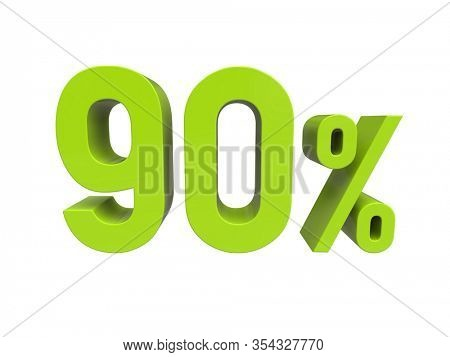 3d Render: ISOLATED 90% Percent Discount 3d Sign on White Background, Special Offer 90% Discount Tag, Sale Up to 90 Percent Off,  Ninety Percent Letters Sale Symbol, Special Offer Label 90%