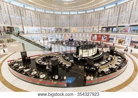 Dubai, Uae - July 19, 2018: People Inside An Atrium Inside Dubai Mall