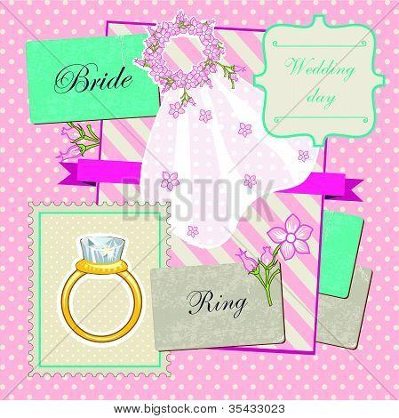 Cute  scrapbook wedding elements set for bride poster