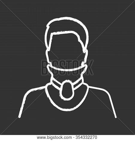 Cervical Collar Chalk Icon. Neck Brace. Medical Foam Neck Support. Orthopedic Collar. Cervical Spine