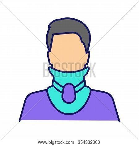 Cervical Collar Color Icon. Neck Brace. Medical Foam Neck Support. Orthopedic Collar. Cervical Spine