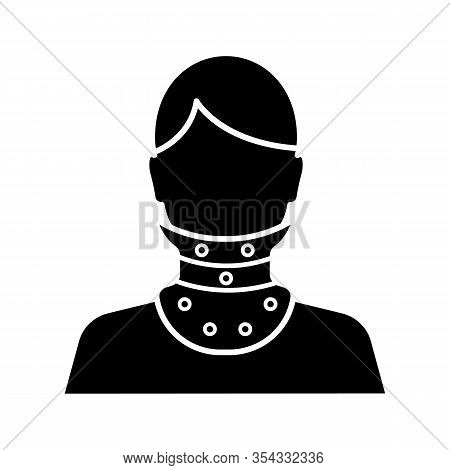 Cervical Collar Glyph Icon. Neck Brace. Medical Plastic Neck Support. Silhouette Symbol. Orthopedic