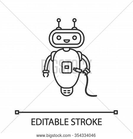Chatbot With Usb Cable Linear Icon. Thin Line Illustration. Talkbot With Usb Slot Plugs To Cable. Mo