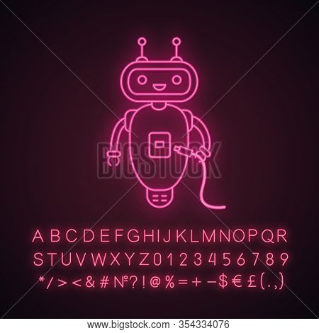 Chatbot With Usb Cable Neon Light Icon. Talkbot With Usb Plugs To Cable. Modern Robot. Virtual Assis