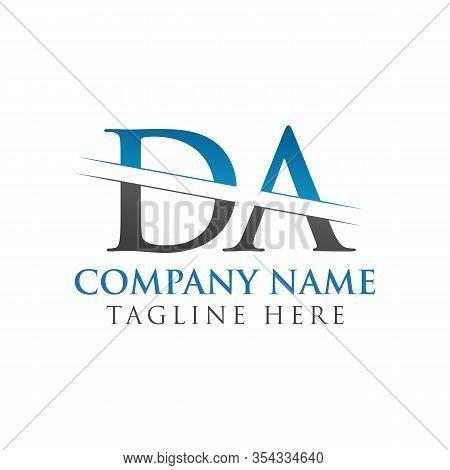 Initial Da Letter Logo Design Vector With Blue And Grey Color. Da Logo Design