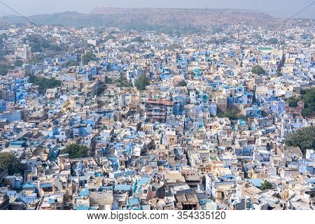 Jodhpur, India - December 9, 2019: View Of Blue Houses From Mehrangarh Fort.