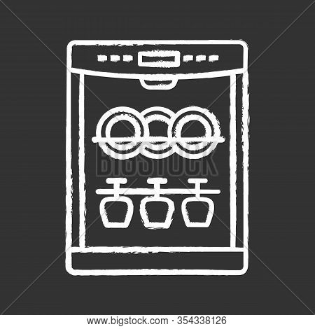 Dishwasher Chalk Icon. Automatic Dishware And Cutlery Cleaning. Kitchen Appliance. Restaurant, Cafe