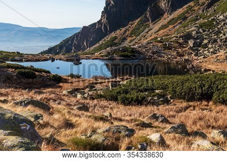 Small Pleso Nad Skokom Lake In Mlynicka Dolina Valley In Vysoke Tatry Mountains In Slovakia During B