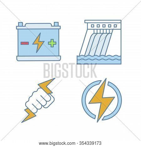 Electric Energy Color Icons Set. Accumulator, Hydroelectric Dam, Power Fist, Lightning Bolt. Isolate