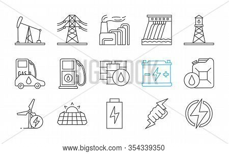 Electric Energy Linear Icons Set. Electricity. Power Generation And Accumulation. Electric Power Ind