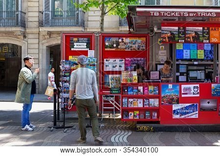 Barcelona, Spain - May 16, 2017: Selling Of The Different Tickets And Advertising Booklets On The Fa