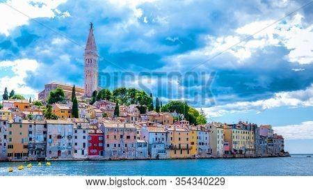 Rovinj Croatia, City Village Of Rovinj Croatia, Colorful Town With Church And Old Historical House B