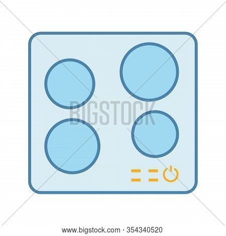 Electric Induction Hob Color Icon. Cooktop. Cooking Panel, Surface. Induction Stove Or Built In Cook