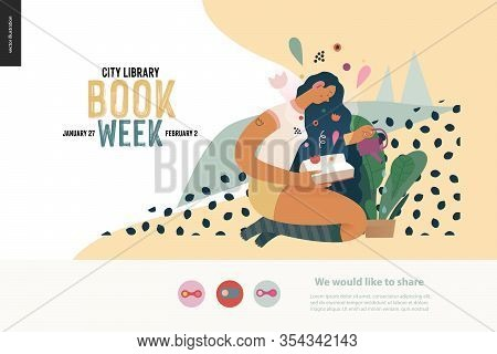 Watering Webdesign Template -world Book Day Graphics -book Week Events. Modern Flat Vector Concept I