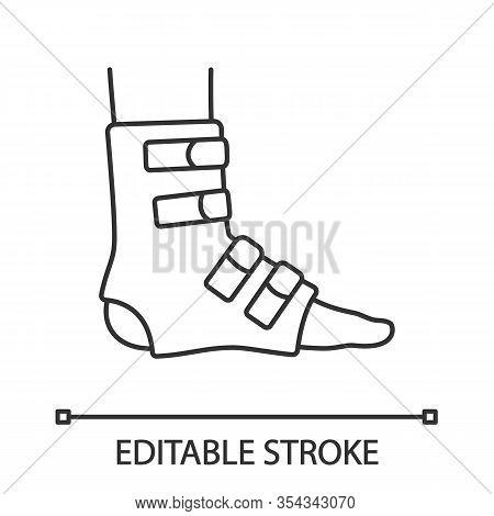 Foot Ankle Brace Linear Icon. Foot Orthosis. Thin Line Illustration. Leg Brace. Adjustable Ankle Joi