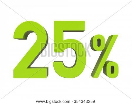3d Render: ISOLATED 25% Percent Discount 3d Sign on White Background, Special Offer 25% Discount Tag,