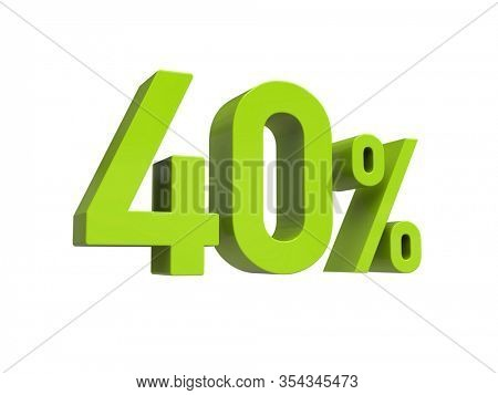 3d Render: ISOLATED 40% Percent Discount 3d Sign on WHITE Background, Special Offer 40% Discount Tag, Sale Up to 40 Percent Off, Forty Percent Letters Sale Symbol, Special Offer Label