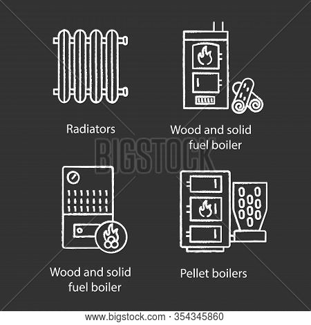 Heating Chalk Icons Set. Radiator, Firewood And Pellet Boiler, Solid Fuel Heater. Isolated Vector Ch