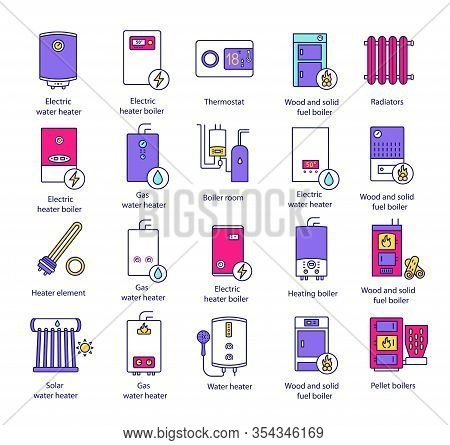 Heating Color Icons Set. Boilers, Radiators, Thermostat. Gas, Electric, Solid Fuel, Pellet, Solar Bo