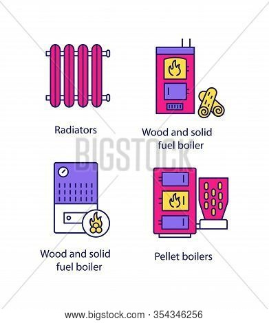 Heating Color Icons Set. Radiator, Firewood And Pellet Boiler, Solid Fuel Heater. Isolated Vector Il