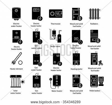 Heating Glyph Icons Set. Boilers, Radiators, Thermostat. Gas, Electric, Solid Fuel, Pellet, Solar Bo