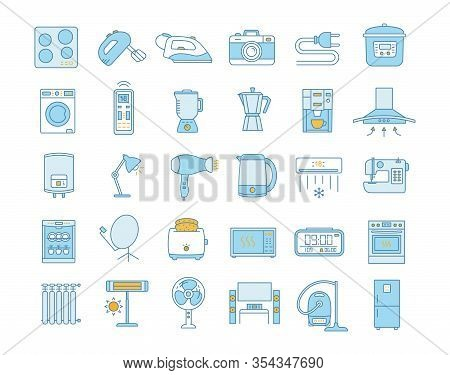 Household Appliance Color Icons Set. Home And Kitchen Electronics. Domestic Technology. Refrigerator