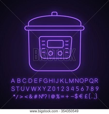 Multi Cooker Neon Light Icon. Slow Cooker. Crock Pot. Pressure Multicooker. Kitchen Appliance. Glowi