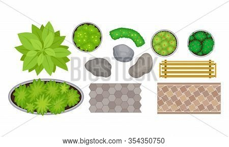 Landscape Gardening Elements With Bushes And Wooden Bench Top View Vector Set