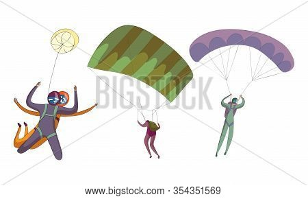 Parachute Jumpers Floating In The Sky With Spread Air-chute Vector Set
